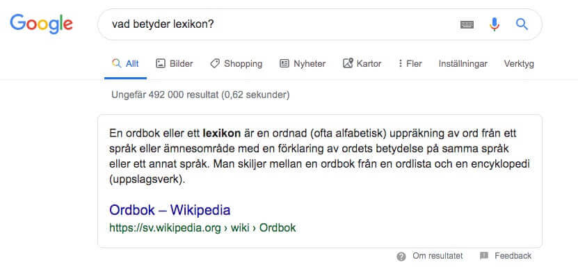 Featured snippet för sökningen: vad betyder lexikon?